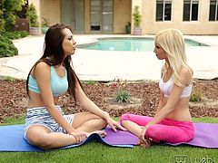 In yoga, a lot of it is about finding, achieving and maintaining your center. Jenna and Piper are working toward that goal outside, but Jenna succeeds, just in a different way. The young lovelies start kissing and getting naked, with Jenna ultimately finding Piper's center at least, with her tongue.