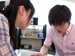 This big breasted Japanese tutor sees that her pupil is feeling very stressed. She is trying to teach him, but he just can't concentrate. All he can do, is stare at her massive boobs. Arisa decides that the best way for him to learn, is to show off her cleavage and give him a nice rubdown.