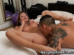 Asian Mia Lelani with massive tits and clean bush warms Keni Styles up and takes his meat stick