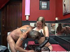 Much older guy thrusts deep into the whore his buddy paid for
