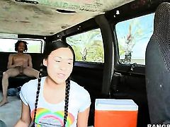 Curious guy gets naked for cute asian chick Kimora