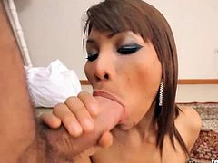 Super hot Asian tranny fucked by lucky Ramon