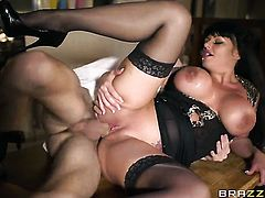 Danny D buries his sturdy schlong in unbelievably hot Kerry Louises mouth