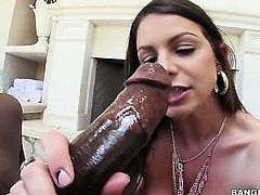Brunette hussy Brooklyn Chase with phat butt and clean pussy gets her pussy hole trained by guys rock solid rod in interracial hardcore scene