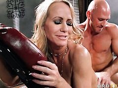 Johnny Sins admires mouth-watering Simone Sonays body before she takes his worm in her deep down her throat