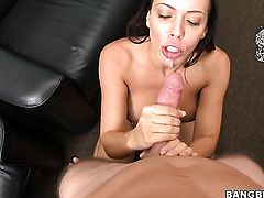 Brunette Rachel Starr with gigantic tits and clean pussy does dirty things and then gets her nice face covered in man semen