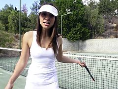 This guy is filming Sara out at the tennis court, but he has no real interest in the game. Just seeing her body move and taking the opportunities available to touch, rub, or fondle her body in some way. They leave the court, but his game continues, finally getting his hands on her tits and squeezing.