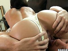Brunette latin Franceska Jaimes with big bottom gets skull banged by mans hard dick