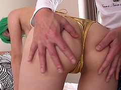 Itsuki is a stunning beauty, but she looks even sexier when she puts on one of her hot cosplay outfits. Today she is wearing a green wig and gold bikini. Her man grabs her firm ass and plays with her wet cunt.