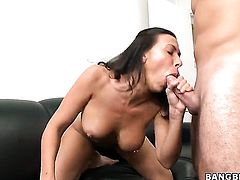 Rachel Starr with massive jugs and hairless pussy has fire in her eyes as she gets jizzed on after sex with hot man