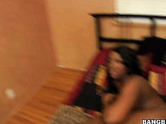 Brunette Aryana Starr with round bottom sucks like theres no tomorrow in steamy blowjob action with horny fuck buddy