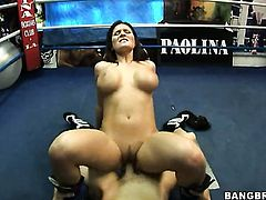 Brunette Austin Kincaid with round butt and hard dicked guy are horny for each other in interracial porn action