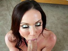Beautiful dark haired mom Kendra Lust with heavy makeup drops on her knees in front of Winston Burbank and gives stunning blowjob from first person perspective.