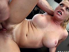Jordan Ash gets seduced into fucking by Attractive porn diva Krissy Lynn with gigantic breasts