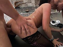 Alec Knight bangs amazing Eva Kareras pretty face with his snake after she takes it in her bum