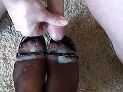Pantyhose Footjob by Amazing MILF