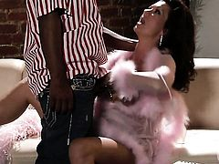 Extremely hot whore Raquel Devine spends her sexual energy with rock solid dick in her mouth