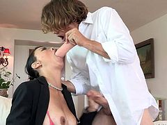 Smoking hot asian mom Dana Vespoli gives perfect blowjob to her stepson Tyler Nixon. She sucks like mad and makes him cum. Dana Vespoli loves getting her face covered in sticky cum.