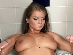 Sex hungry porn diva Rita Faltoyano with massive knockers does lewd things and then gets cum covered