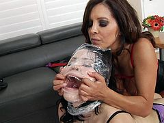 Pale skin chick Yhivi in lingerie gets wrapped up by Francesca Le and Mark Wood. then she gets her asshole toy fucked from behind in the middle of the room without taking off her panties.
