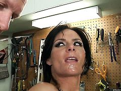 Mark Wood bangs Phoenix Marie in her mouth as hard as possible in steamy oral action before backdoor sex