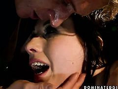 Brunette gets her throat attacked by guys throbbing rod