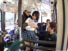Sexy schoolgirl Nana, was groped by the bus, and soon every guy wanted in on a piece of the action. Her white cotton panties were pulled down and she was eaten out from behind, while she sucked on another passenger's stiff penis.