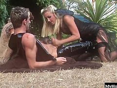 Natalia soaking up the summer sun, when suddenly she is approached by a leather clad guy with a hard cock in his pants. Natalie couldnt take her eyes off his stiff dick, so she decided to go in for a better look. Imagine her surprise when another hard body with a hard cock showed up to fuck her as well