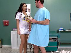 The attending nurse seems to be looking so stunning in her sexy red lingerie making her hunk patient Charles Dera so horny taht he eagerly fucked sexy Karlee Grey in her seductive red lingerie on the desk after she gives his throbbing manhood the best blowjob.