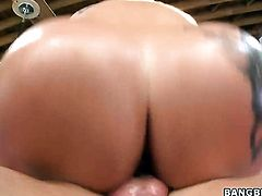 Blonde Dayna Vendetta with huge breasts and shaved pussy gets pleasure with erect meat pole in her m