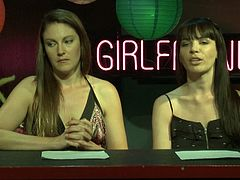 Pornstars host a chat show with two smart ladies as guests