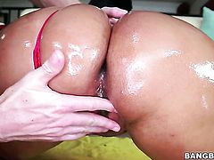 Kiara Mia with juicy butt is never enough and takes guys erect dick in her many times used muff over and over again