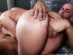 Derrick Pierce plays with shameless AJ Applegates bush before he fucks her hole with his erect tool
