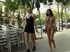 Are you a huge fan of girls getting publicly humiliated? Then, you wouldn't like to miss this: slutty Julia walking, completely naked and following a hot blonde bitch, on the streets of the town. They head to a bar, where the bitchy brunette savors an appetizing cock. See more!