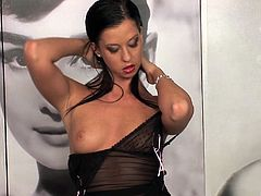 Luscious Larissa likes to play with the dildo for her fans