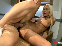 Smutty blonde pleasure having a jumbo cock drill her bald cooter roughly