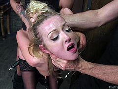 Karla is up for being dominated, so her and a couple of guys go downstairs, where she is bound with ropes, and nailed from behind and sometimes, choking down the other guy's dick. She even gets a jolt from an electric wand, before getting a hand squeezing her throat and her cunt being ravaged.