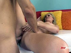 Blonde wife's asshole gets fucked as she cheats on her hubby