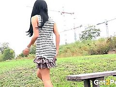 Boots and a short skirt on a cute pissing gir