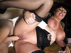 Kerry Louise gets down on her knees to take Danny Ds meat stick deep down her throat