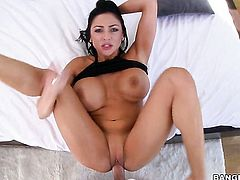 Brunette Audrey Bitoni with bubbly butt loves the way man fucks her mouth