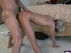 Flexible skinny chick fucked until he cums on her face
