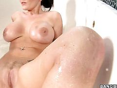 Redhead Sophie Dee with juicy bottom satisfies guys sexual needs and desires and then gets her lovely face cum drenched