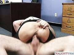 Brooke Tyler with massive tits and smooth bush finds Dane Cross handsome and takes his hard meat pole