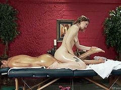 Will Jessica get a happy ending today? This cute tranny milf goes in for a massage, and all the rubbing gets her hard in no time at all. It must be because of the warm oils and Ella's supple and sweet skin.