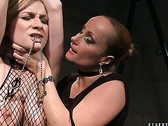 Blonde with huge melons gets used like a fuck toy by horny lesbian Katy Parker