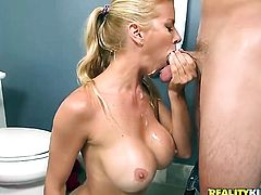 Blonde Alexis Fawx with huge breasts and smooth beaver enjoys dick sucking too much to stop in steamy oral action