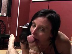 Older housewife wanks cocks off and take cum in her mouth