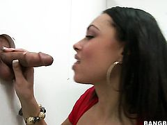 Brunette Bethany Benz lets guy stick his meaty snake in her mouth