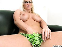 Blonde Kaylee Brookshire has fire in her eyes as she gets her nice face covered in man goo
